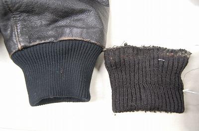革ジャン袖のリブ交換(右→左)